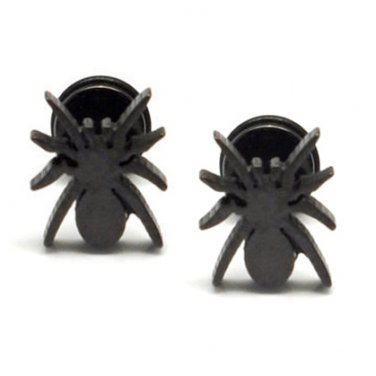Pair Surgical Stainless Steel Black Spider Fake Ear Plug Earrings Stud Mens