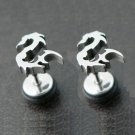 Pair Surgical Stainless Steel Silver Dragon Fake Ear Plug Earrings Stud Mens