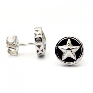 Pair Surgical Stainless Steel Vintage Round Star Earrings Stud Mens/Lady's