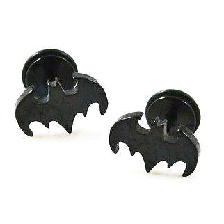 Pair Surgical Stainless Steel Black Super Hero Batman Logo Fake Ear Plug Earrings Stud Punk/Rock