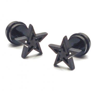 Pair Surgical Stainless Steel Black Punk Rock Star Fake Ear Plug Earrings Stud Mens/Lady's