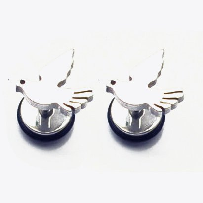 Pair Surgical Stainless Steel Silver Dove Peace Bird Fake Ear Plug Earrings Stud Mens/Lady's