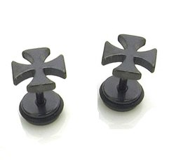 Pair Surgical Stainless Steel Black Iron Cross Fake Ear Plug Earrings Stud Mens/Lady's