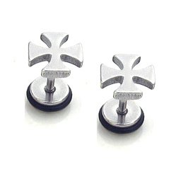 Pair Surgical Stainless Steel Silver Iron Cross Fake Ear Plug Earrings Stud Mens/Lady's