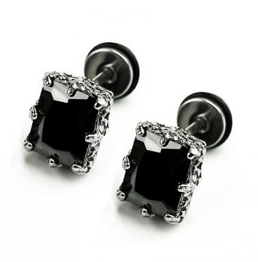 Pair Surgical Stainless Steel Rectangle Black CZ Dragon Claw Mens Gothic Screw Back Earrings