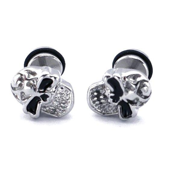 Pair Surgical Stainless Steel Angry Skull Men's Anti-Allegic Stud Earrings