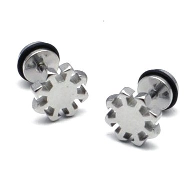 Pair Surgical Stainless Steel Silver Cool Unique Sun Fake Ear Plug Earrings Stud Mens/Lady's