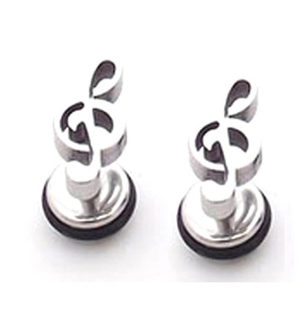 Pair Surgical Stainless Steel Silver Musical Note Treble Clef Earring Stud Mens/Ladies