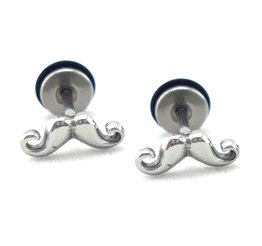 Pair Surgical Stainless Steel Silver Moustache Ear Stud Earrings Mens/Lady's