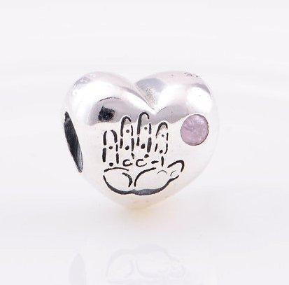 925 Sterling Silver Baby Girl Pink CZ Heart Charm - fits European Beads Bracelets