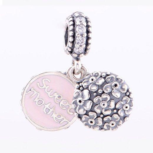 Sterling Silver Sweet Mother CZ / Pink Enamel Pendant - fits European Beads Bracelets