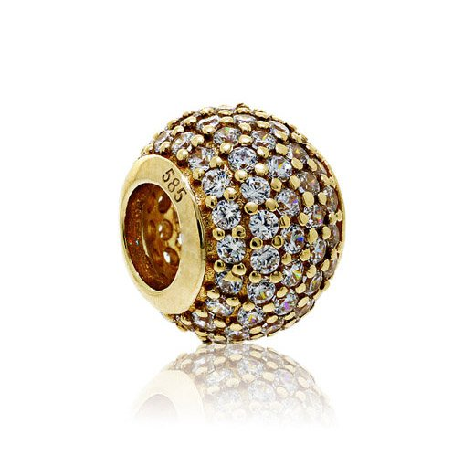 100% 14ct Gold Pave Ball Charm - fits European Beads Bracelets