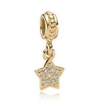 100% 14ct Gold Pave Brilliant Star Pendant Charm - fits European Beads Bracelets