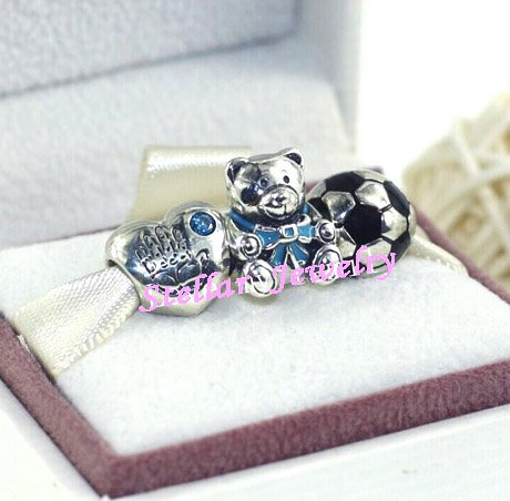 925 Sterling Silver BABY SPORT BOY Charms Gift Set - fits European Beads Bracelets