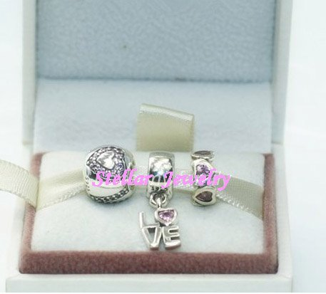 925 Sterling Silver LOVE IS ALL AROUND Charms Gift Set - fits European Beads Bracelets