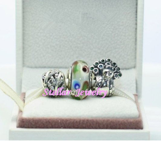 925 Sterling Silver PRETTY PEACOCK Charms Gift Set - fits European Beads Bracelets