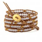 Crystalline Agate/Gold Nugget - 5 Wrap Brown Leather Beaded Boho Badmein Bracelet
