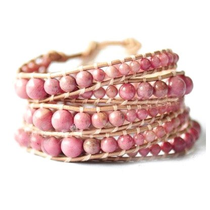 Precious Pink Rhodonite Stones - Bohemian 5 Wrap Dark Brown Leather Boho Bracelet