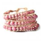 Precious Pink Rhodonite Stones - Bohemian 5 Wrap Dark Brown Leather Boho Bracelet