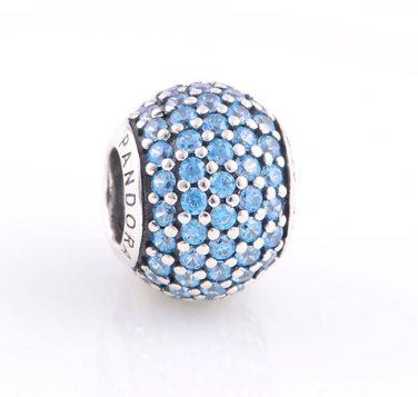 925 Sterling Silver Teal Pave Ball Charm - fits European Beads Bracelets