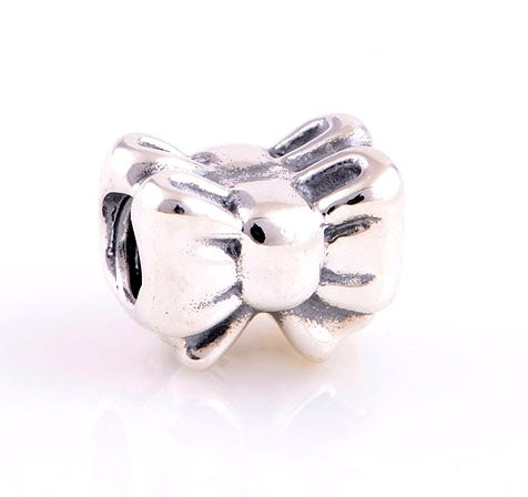 925 Sterling Silver Perfect Gift Bow Charm - fits European Beads Bracelets