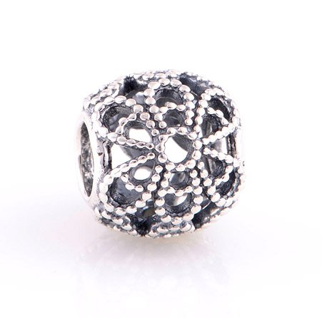 925 Sterling Silver Roses Flower Charm - fits European Beads Bracelets