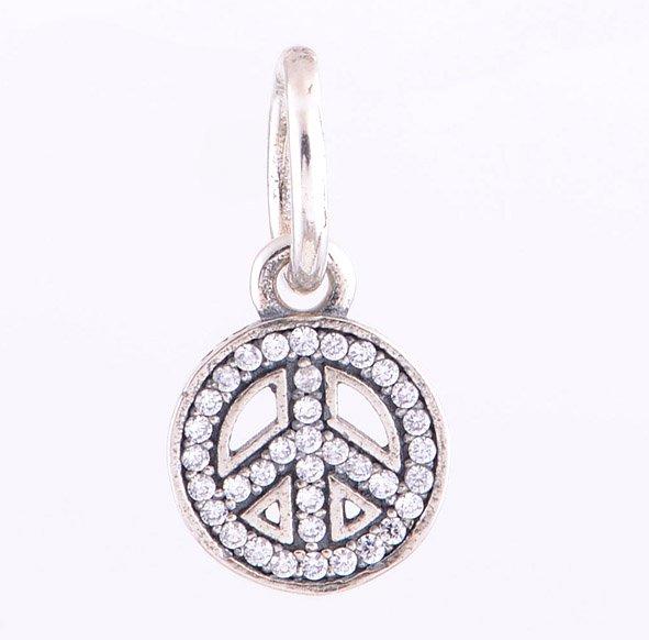 925 Sterling Silver Sparkling Peace Necklace Pendant Charm - European Beads Bracelets