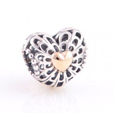 925 Sterling Silver w/ 14ct Gold Vintage Heart Charm - fits Biagi/Pandora/Troll Bracelets