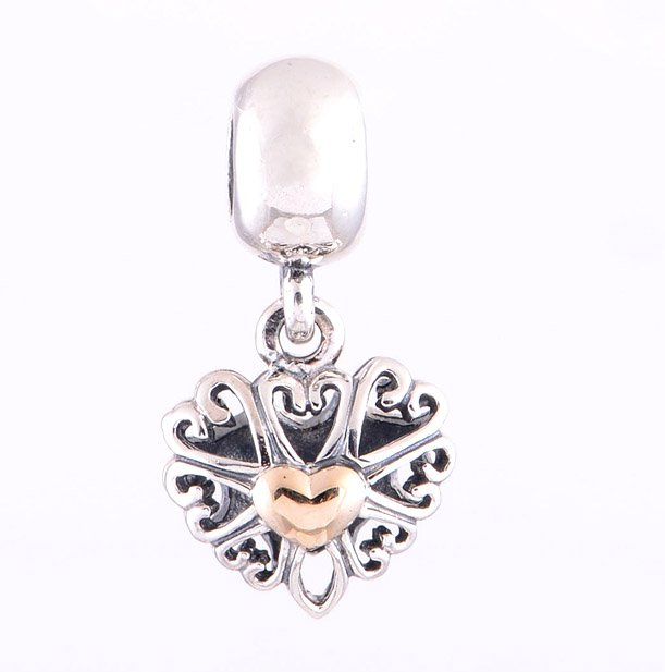 925 Sterling Silver 14ct Gold Filled With Love Pendant Charm - fits European Beads Bracelets