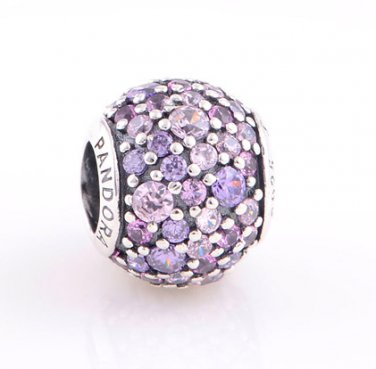 925 Sterling Silver Multi-Colored Sparkles Pave Ball Charm - fits European Beads Bracelets