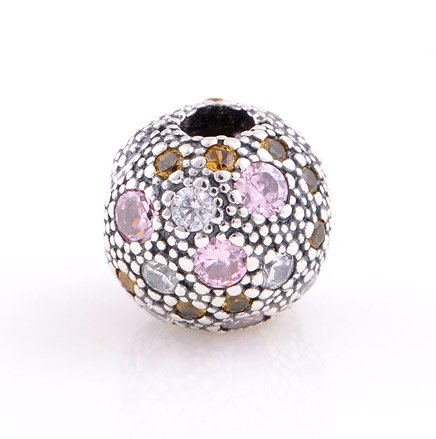 925 Sterling Silver Pale Pink Cosmic Stars Clip - fits European Beads Bracelets