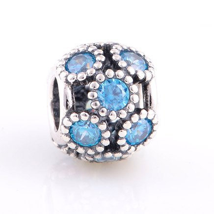 925 Sterling Silver Openwork Teal Sparkling Circles Charm - fits European Beads Bracelets