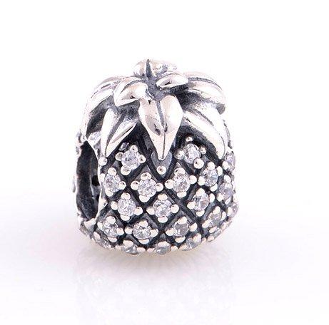 925 Sterling Silver Sparkling Pineapple Clear CZ Charm - fits Biagi/Pandora/Troll/European Bracelets