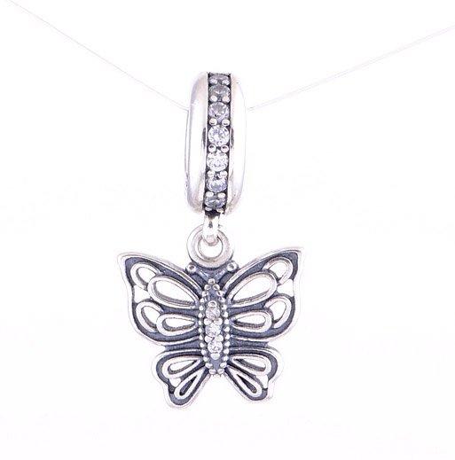 925 Sterling Silver Vintage Butterfly Clear CZ Pendant fits European Beads Bracelets