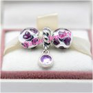 925 Sterling Silver VIOLET LOVE YOU Charms Gift Set - fits European Beads Bracelets