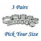 3 Pairs Silver Surgical Steel Ear Tunnels Double Flare Screw Gauge Plugs