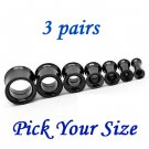 3 Pairs Black Surgical Steel Ear Tunnels Double Flare Screw Gauge Plugs