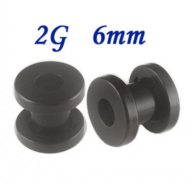 Pair 2G 6mm Black 316L Surgical Steel Flesh Tunnels Screw Ear Gauges Plug Stretcher Expander