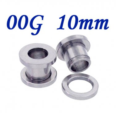 Pair 00G 10mm 316L Surgical Steel Flesh Tunnels Screw Ear Gauges Plug Stretcher Expander