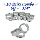 ~10 Pairs Combo~ 316L Surgical Steel Double Flare Screw Ear Gauges Tunnel Plug Kit Stretchers