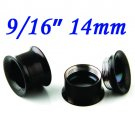 "Pair 9/16"" 14mm Black 316L Surgical Steel Double Flare Threaded Tunnel Ear Plugs Expander Stretcher"