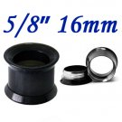"Pair 5/8"" 16mm Black 316L Surgical Steel Double Flare Threaded Tunnel Ear Plugs Expander Stretcher"