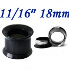 """Pair 11/16"""" 18mm Black 316L Surgical Steel Double Flare Threaded Tunnel Ear Plugs Expander Stretcher"""
