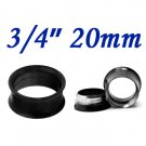 "Pair 3/4"" 20mm Black 316L Surgical Steel Double Flare Threaded Tunnel Ear Plugs Expander Stretcher"