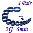 Pair 2G 6mm Blue 316L Surgical Steel Double Flare Threaded Tunnels Ear Plugs Expanders Stretchers
