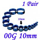 Pair 00G 10mm Blue 316L Surgical Steel Double Flare Threaded Tunnels Ear Plugs Expanders Stretchers
