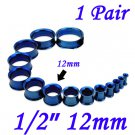 "Pair 1/2"" 12mm Blue 316L Surgical Steel Double Flare Threaded Tunnels Ear Plugs Expanders Stretchers"