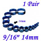 "Pair 9/16"" 14mm Blue 316L Surgical Steel Double Flare Threaded Tunnels Ear Plug Expander Stretcher"