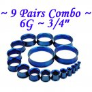 ~9 Pairs Combo~ Blue 316L Surgical Steel Double Flare Screw Ear Gauges Tunnel Plug Kit Stretchers