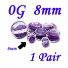 Pair 0G 8mm Double Flare Clear Acrylic Purple Liquid Glitter Saddle Plug